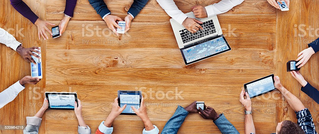 Business People Working with Technology stock photo