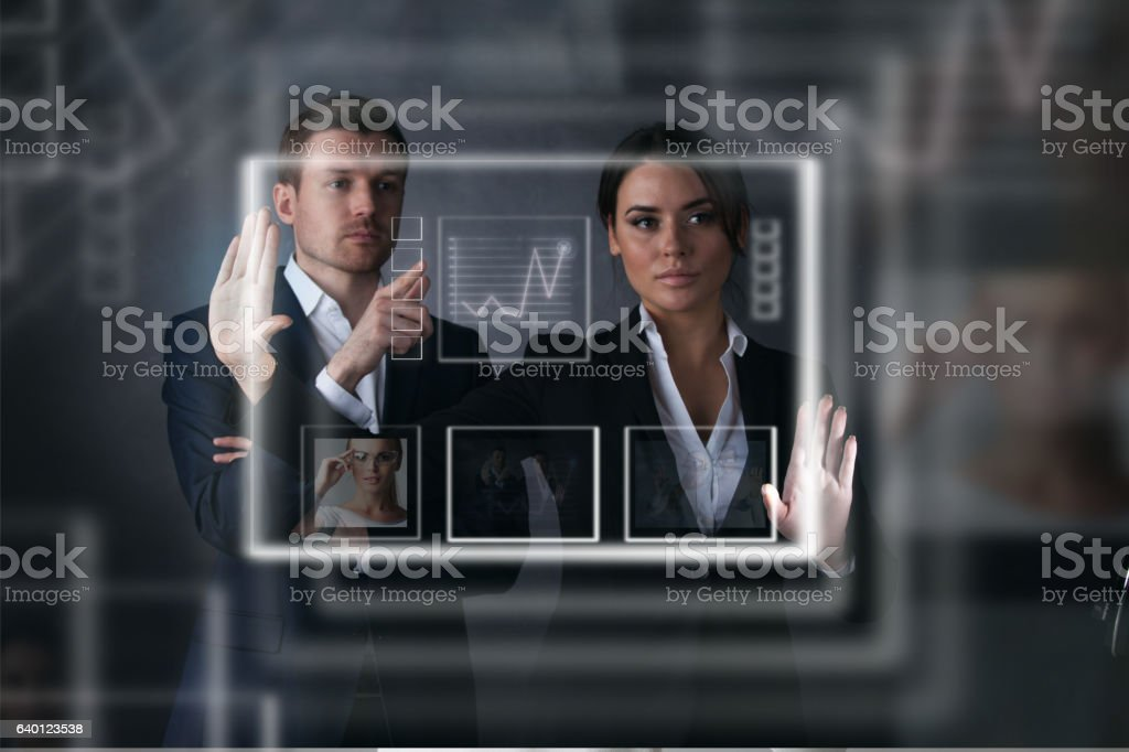 Business people working with virtual display stock photo
