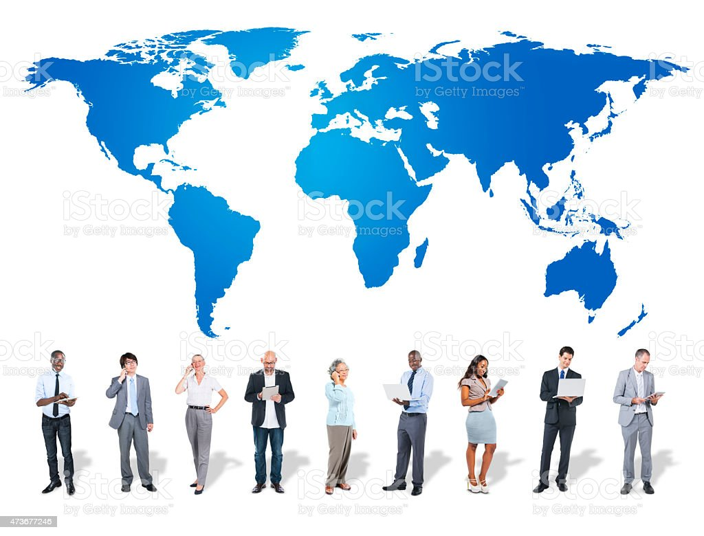 Business People World Map Technology Communication