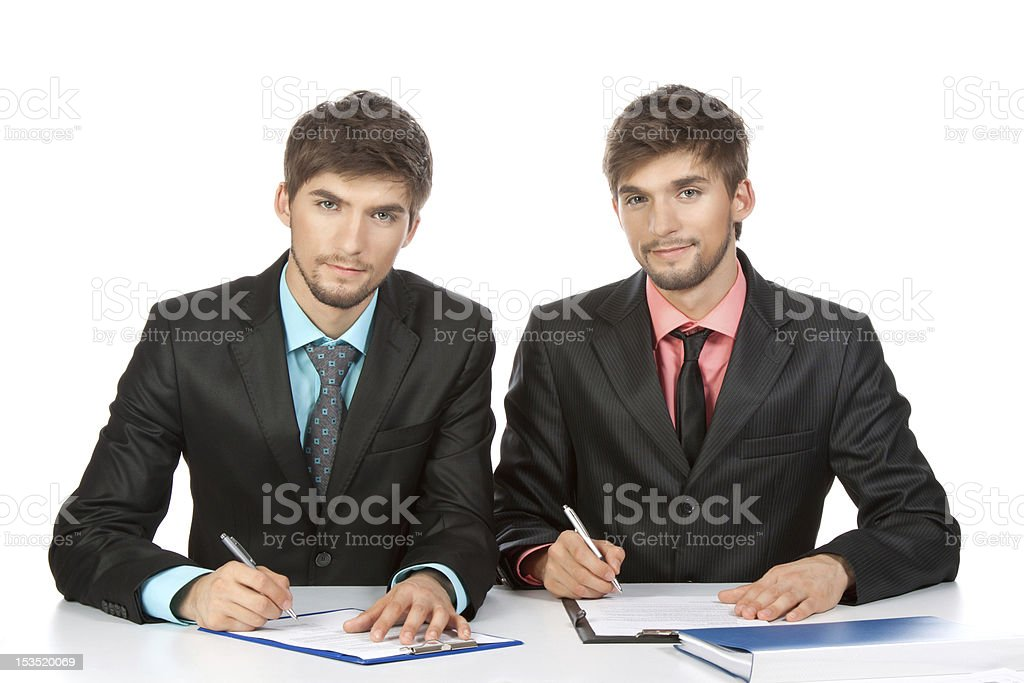 business people writing royalty-free stock photo
