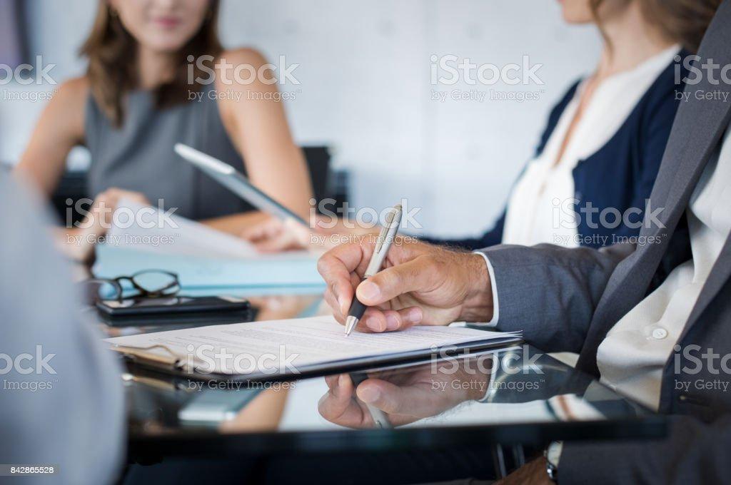 Business people writing stock photo