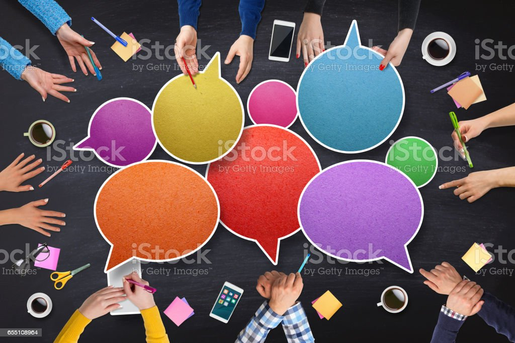 Business peoples Connecting with Speech Bubbles stock photo