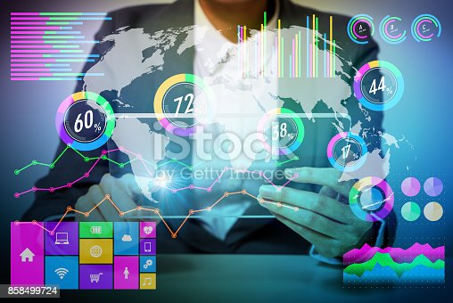 872670540 istock photo business person and information technology concept. peerless office. abstract mixed media. 858499724