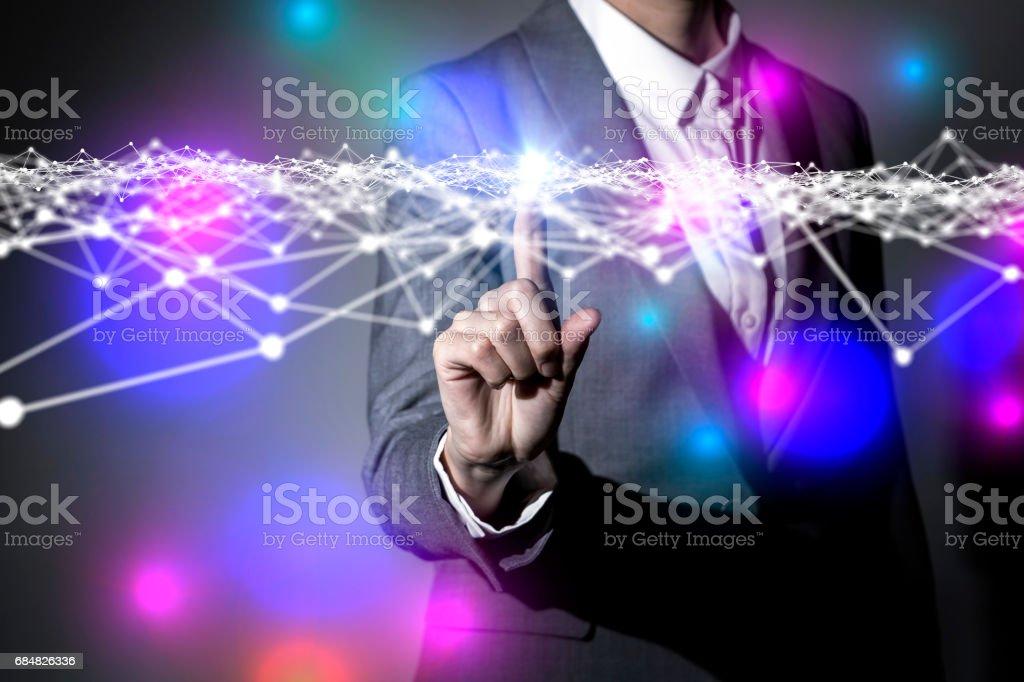 negócios pessoa e rede padrão de grade, imagem abstrata visual - foto de acervo