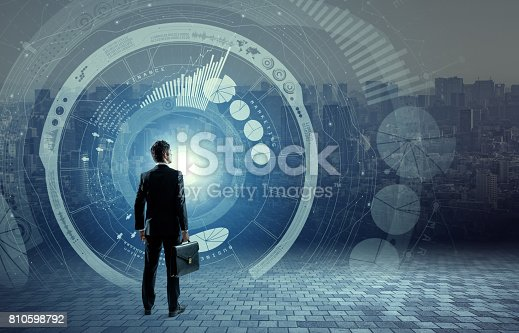 istock business person back view and futuristic interface, smart city, internet of things, information communication technology, abstract image visual 810598792