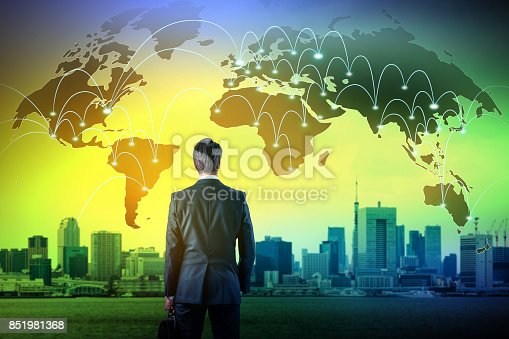 917493152istockphoto business person back view and worldwide network, abstract conceptual visual 851981368