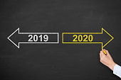 Business Person Drawing Old Year or New Year 2020 on Blackboard Background