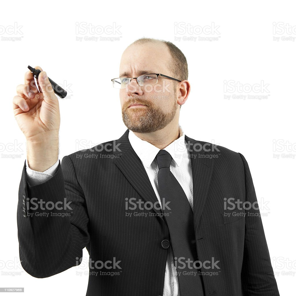 Business person draws chart royalty-free stock photo