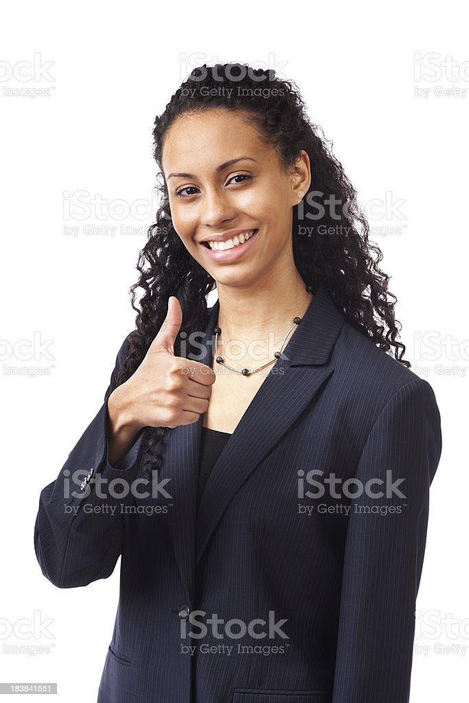 Business Person Holding an Approving Thumbs Up Hand Sign royalty-free stock photo
