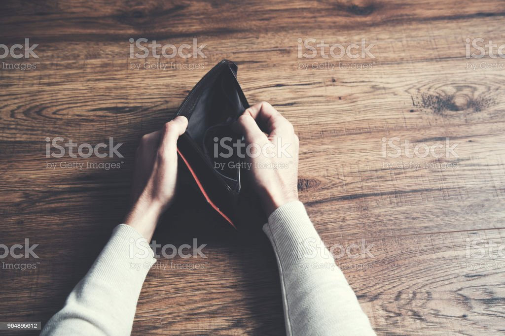 Business Person holding an empty wallet royalty-free stock photo