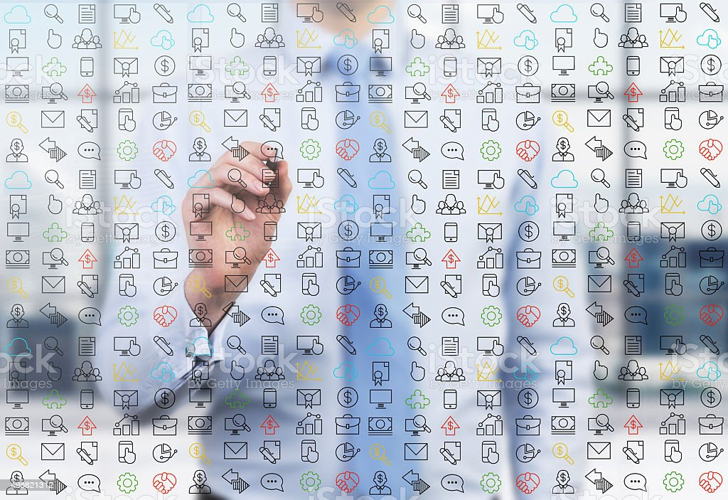 business person is writing social media icons stock photo
