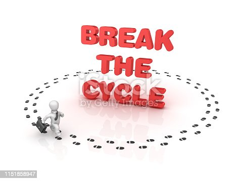 Business Person Running around BREAK THE CYCLE Phrase - White Background - 3D Rendering