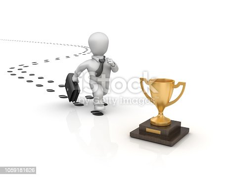 Business Person Running on Footprints and Trophy - White Background - 3D Rendering
