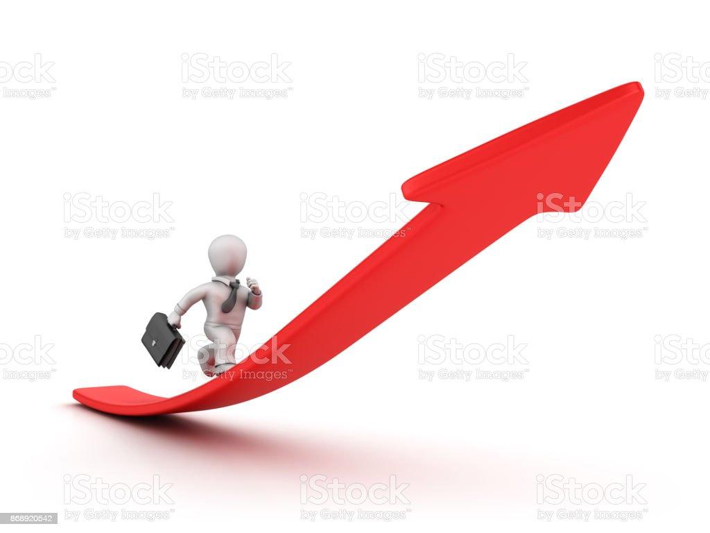 Pessoa de negócios funcionando na seta vermelha - 3D Rendering - foto de acervo