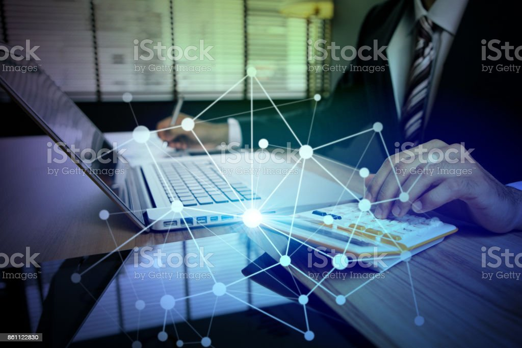 business person using digital devices. Internet of Things. Information Communication Technology. mixed media. business person using digital devices. Internet of Things. Information Communication Technology. mixed media. Abstract Stock Photo