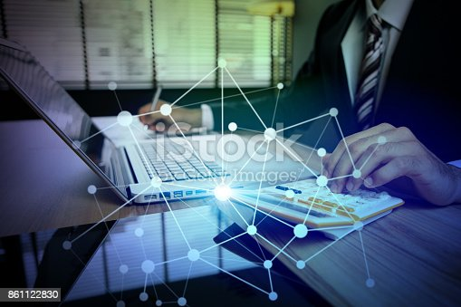 istock business person using digital devices. Internet of Things. Information Communication Technology. mixed media. 861122830