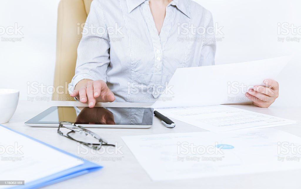 Business person working with documents royalty-free stock photo