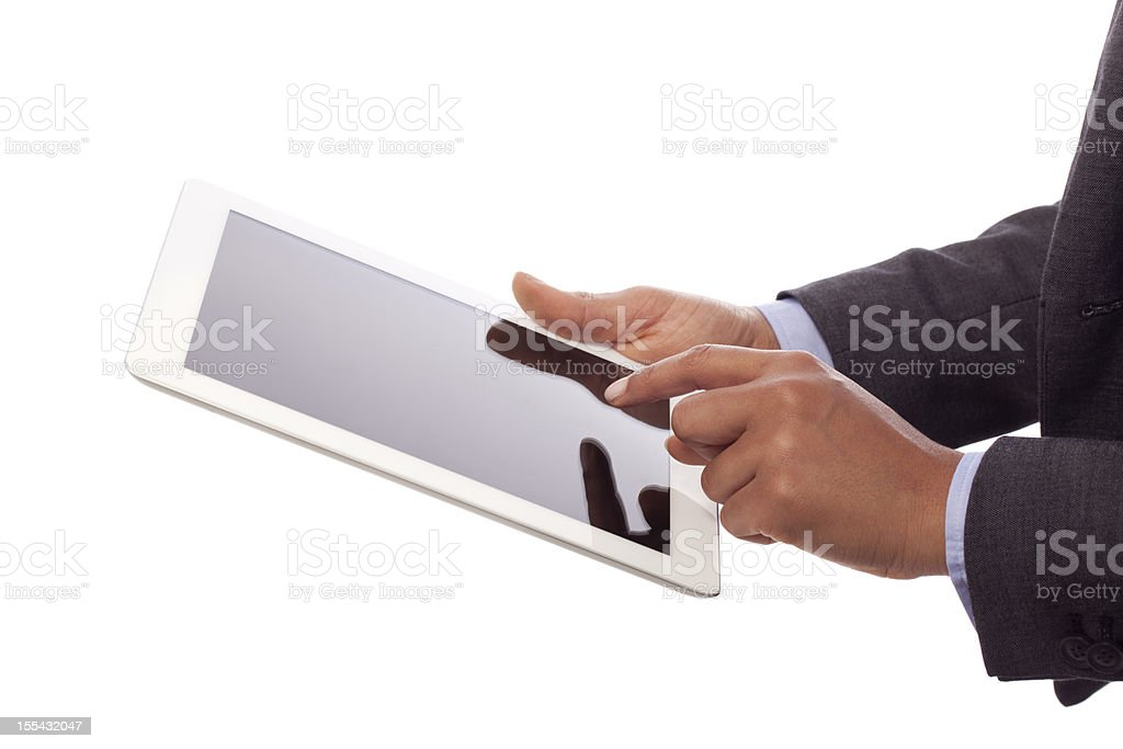 Business person's hands using a digital tablet royalty-free stock photo