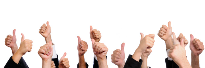 888892364 istock photo Business Persons Showing Thumbs Up.Copy Space 157694188