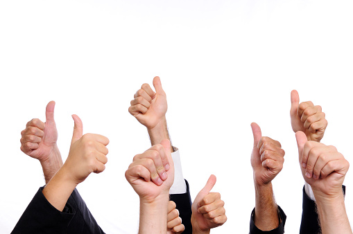 888892364 istock photo Business Persons Thumbs Up.Isolated.Copyspace 183032805