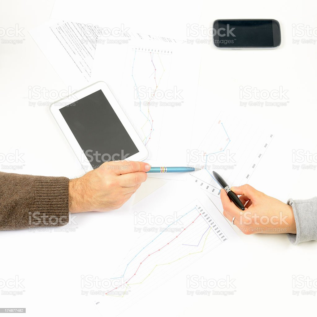 Business Persons Working W Digital Tablet and Smart Phone royalty-free stock photo