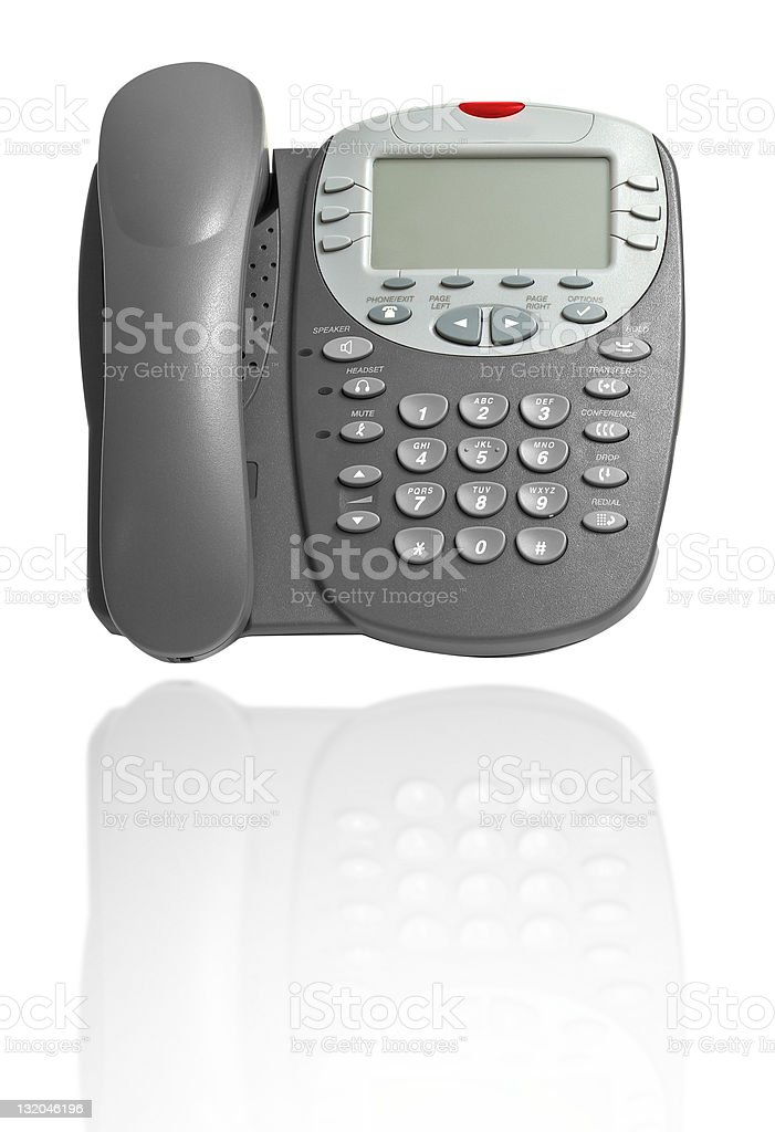 Business phone on white with reflection royalty-free stock photo
