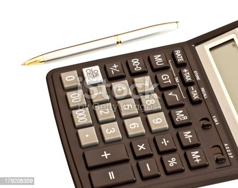 istock Business picture: money and calculator over white 179208359