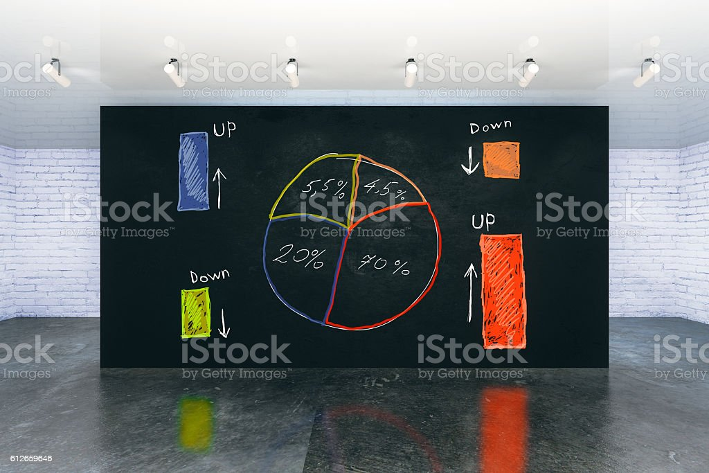 Business pie-chart on wall stock photo