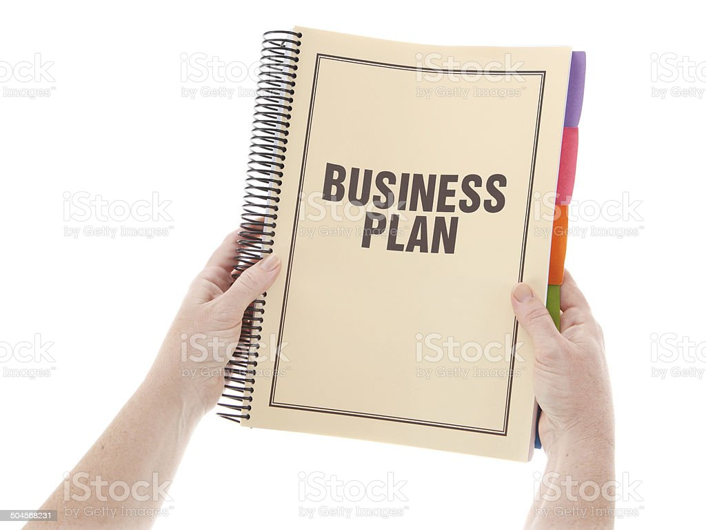business plan bound document in hands on white stock photo more