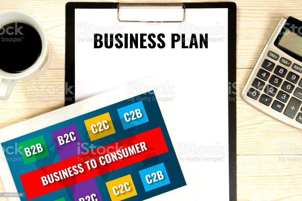 business plan concept, b2b (business-to-consumer) target stock photo