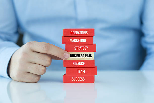 business plan concept with related keywords on wooden blocks - timeline visual aid stock photos and pictures