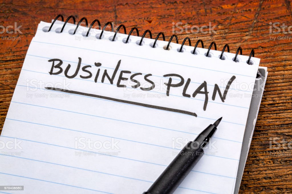 business plan handwriting stock photo
