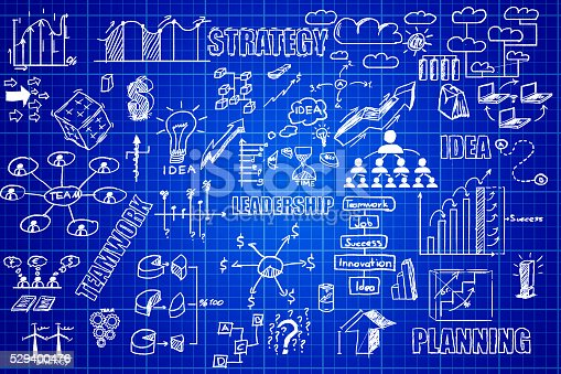 515913038 istock photo Business planning on millimeter engineering blue paper 529400476