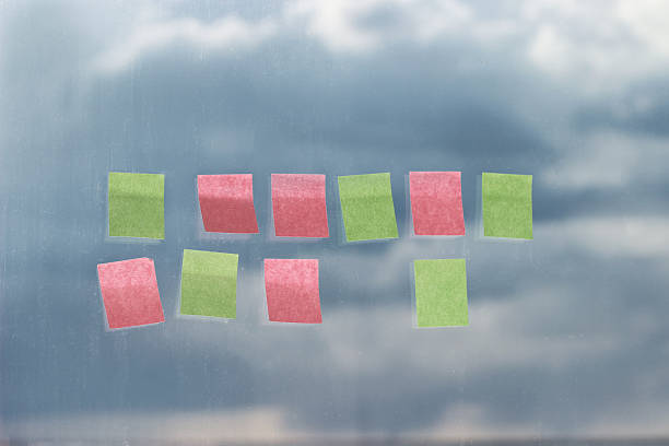 Business planning. Stickers on the window. stock photo