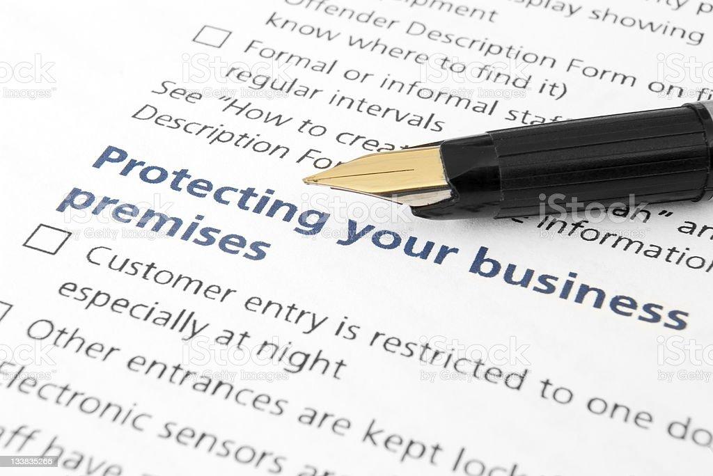Business premises protection document stock photo