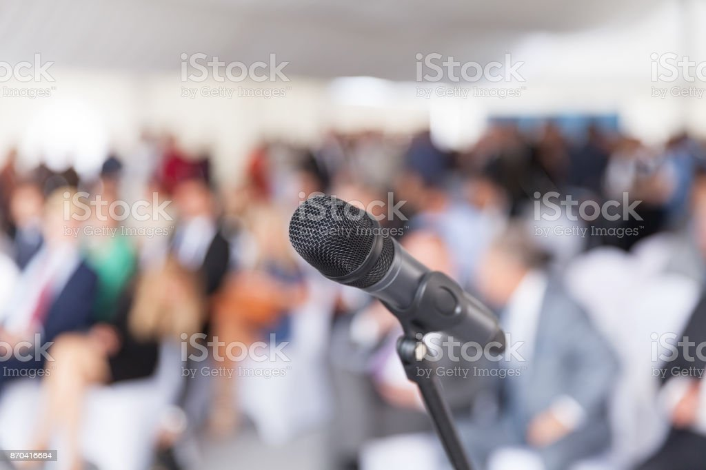 Business presentation. Corporate conference. Microphone. stock photo