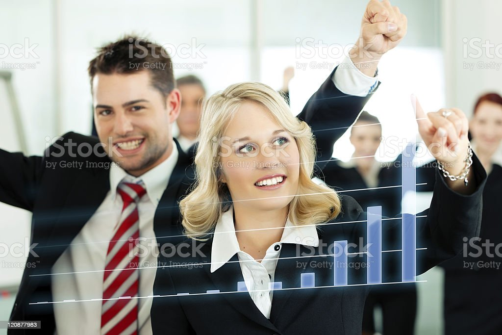 Business - presentation of chart in team royalty-free stock photo