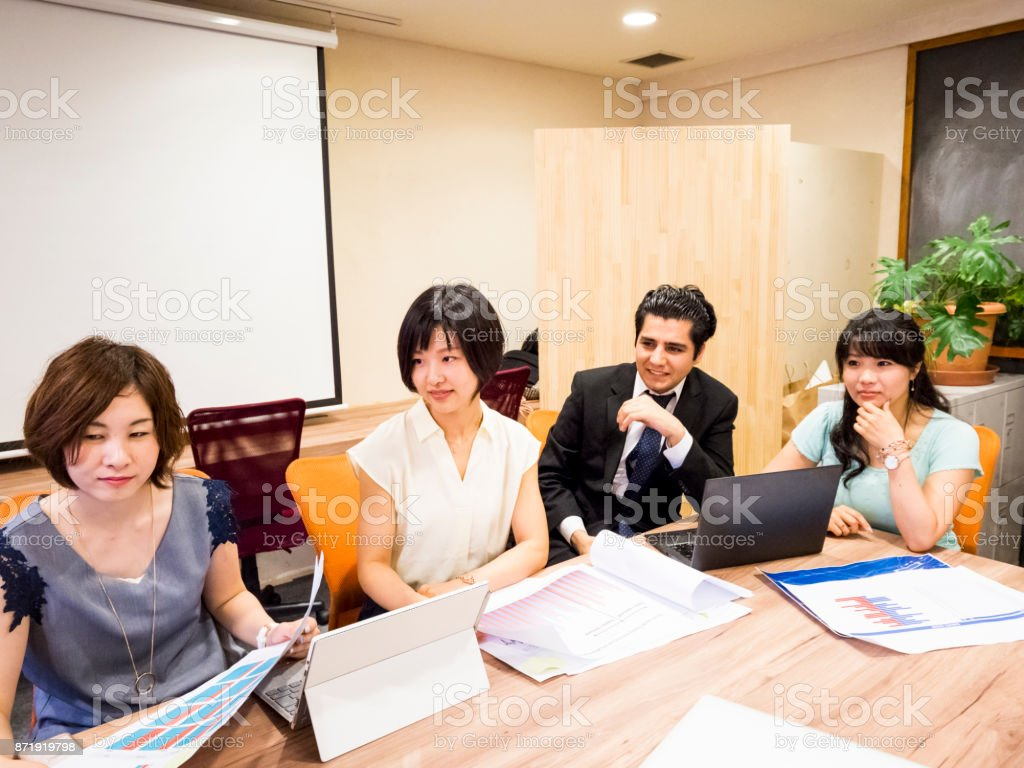 Business presentation of international group. stock photo