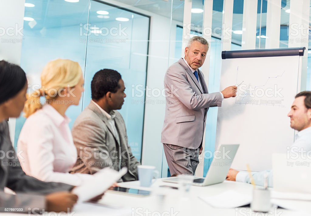 Business presentation on a meeting. stock photo