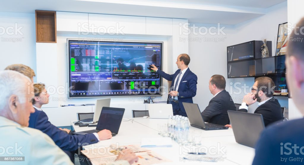 Business presentation on corporate meeting. Corporate business concept. stock photo
