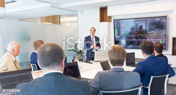 istock Business presentation on corporate meeting. 817425196
