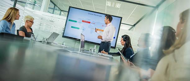 business-präsentation  - leiterdisplay stock-fotos und bilder