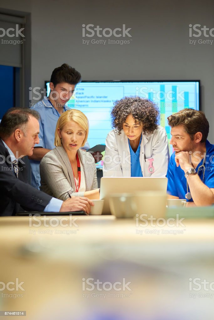 business presentation to hospital professionals stock photo