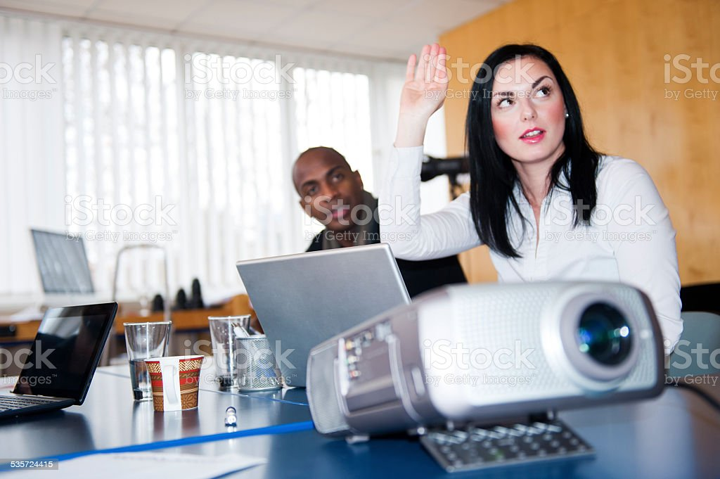 Business presentation with projector stock photo