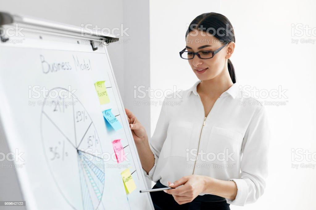 Presentación del negocio. Presentación que hace de la mujer a bordo - Foto de stock de Adulto libre de derechos