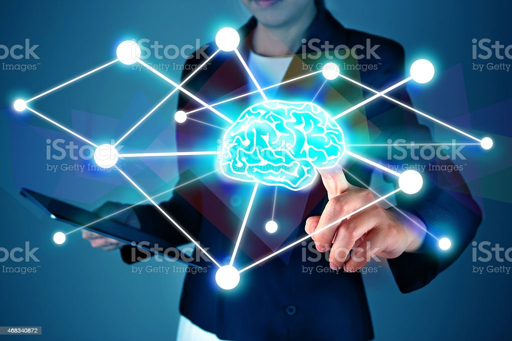 Business press brain symbol stock photo