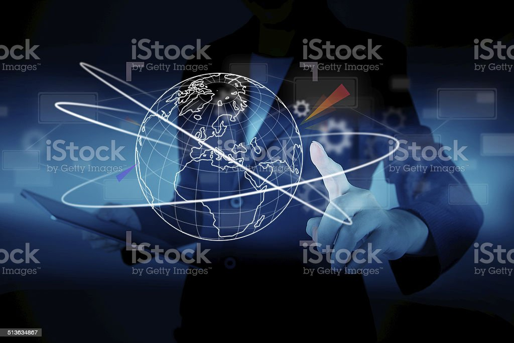 Business presses the virtual world map stock photo