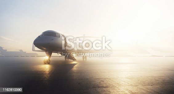 Business private jet airplane parked at terminal in sunrise. Luxury tourism and business travel transportation concept. 3d rendering