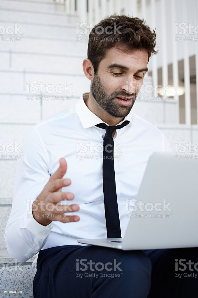 Business problems for man on laptop foto stock royalty-free