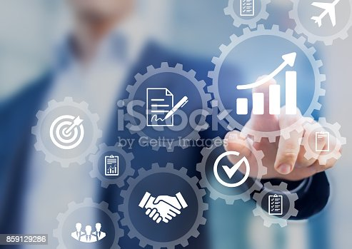 istock Business process management and automation concept, automated workflow, gears, businessman 859129286